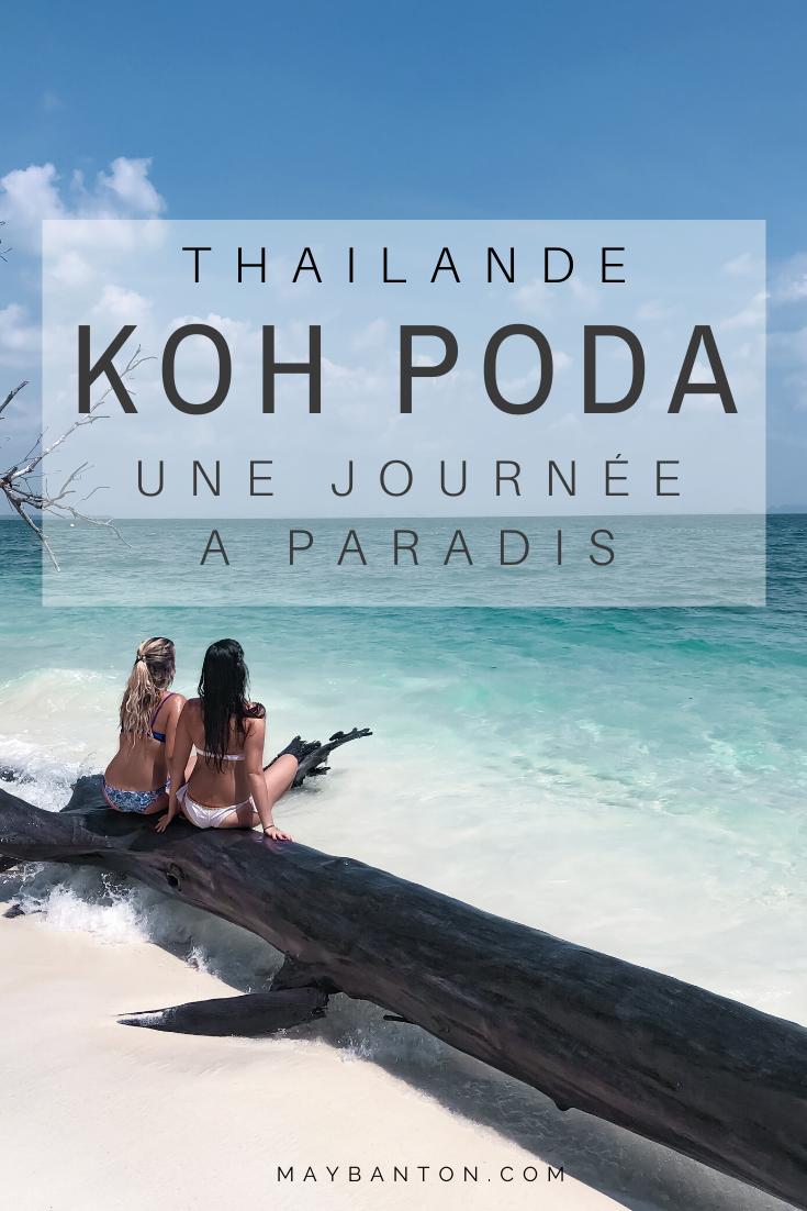 """L'île de Koh Poda est une excursion à ajouter à ta liste de """"things to do"""" si tu pars en Thaïlande. Accessible en bateau depuis Krabi, l'île paradisiaque te permettra de collectionner des souvenirs inoubliables et des photos de l'eau turquoise. Tu dois absolument mettre Koh Poda dans ton itinéraire."""