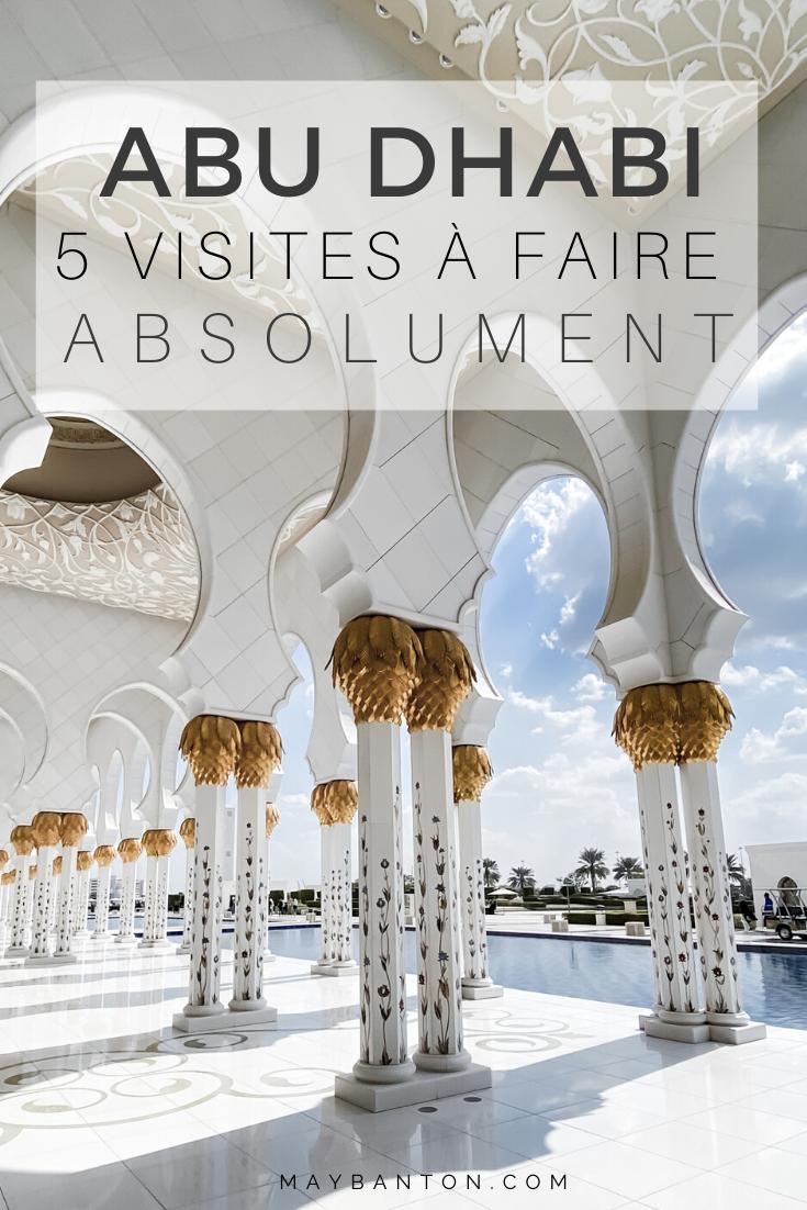 La grande mosque, le Louvre, l'Emirate Palace... Abu Dhabi ne manque pas d'activités. Afin que tu puisses planifier un itinéraire parfait, je te propose 5 visites à faire absolument dans la capitale des Emirats Arabes Unis.